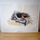 Aquarelle originale de Serge Benbouche - Dégustation dans le chai