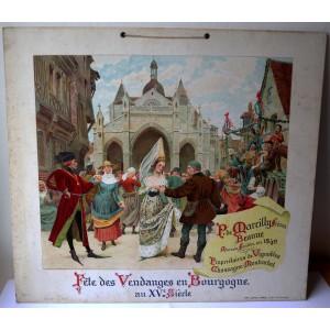Fête des vendanges en Bourgogne au XVe siècle - carton publicitaire original